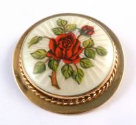 Vintage 1960's 9ct Gold Guilloche Enamel Red Rose Brooch.